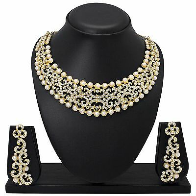 Indian Bollywood Style Fashion Gold plated Bridal wedding Jewelry Necklace Set