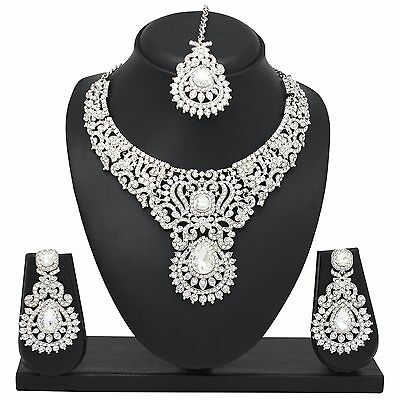 Indian Bollywood Fashion Silver Tone Wedding Necklace Earrings Party Jewelry Set