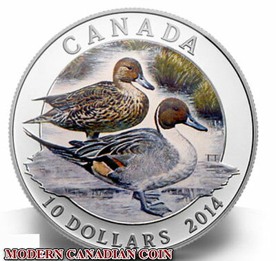 CANADA $10  1/2oz FINE SILVER COIN - THE NORTHERN PINTAIL DUCK - 2014