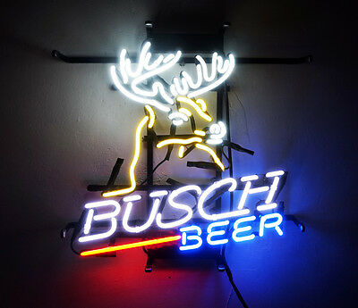 "16""X15"" Busch Deer Beer Bar Neon Sign Light Budweiser Garage Party Pub Display"