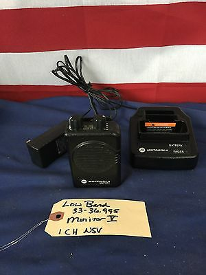 Motorola Minitor V (5) LOW BAND 33-36.995 MHz 1CH NSV Pager A01KMS7238BC w/Chrgr