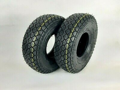 Pair of 330x100 4.00-5 Black Block Tread Mobility Scooter Tyres Diamond pattern