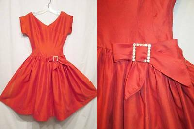 Vintage 50s Cherry Red Iredescent Drop Waist Rhinestones Full Circle Dress XS S