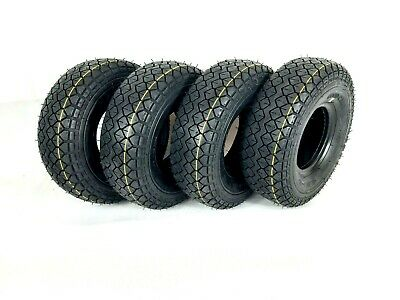 Set of (4) 4.00-5 (330x100) Black Block Tread Mobility Scooter Tyres Diamond pat