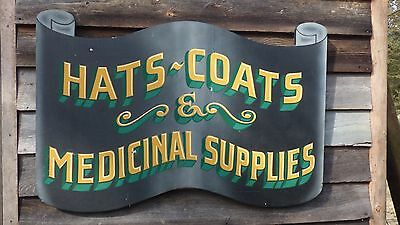 Vintage Style Hats-Coats & Medicinal Supplies 2x3' Hand Painted Wood Sign