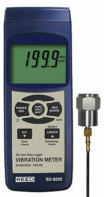 REED SD-8205 SD Series Vibration Meter, Datalogger. Stores Readings on SD Card