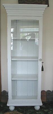 Vintage  White Painted Cabinet  Tall & Narrow   Glass Front