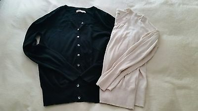 Old Navy Maternity Size Medium Lot of 2 Cardigan Sweaters Oatmeal and Black