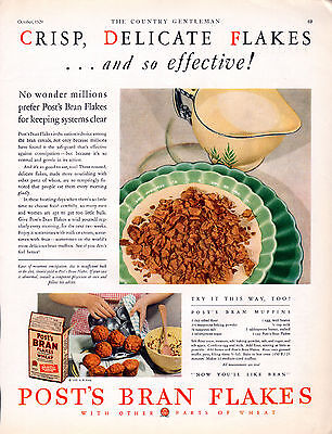 """1929 Post Bran Flakes Ad --"""" Keeping Systems Clear """"-----x37"""