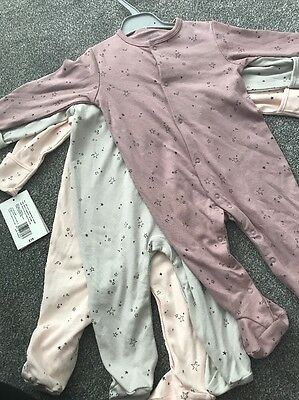 Mamas And Papas Baby Girl Sleepsuits Age 6-9 Months New With Tags Pink Grey