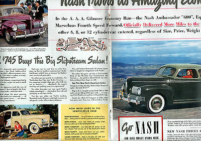 1941 Nash car ad -Marvelous 4 th speed forward ,2 page centerfold ad -[-156
