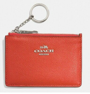 Coach Authentic Mini Skinny Embossed Leather ID Wallet Keychain Coral NWT