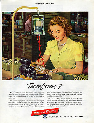 1951 Western Electric Telephone Ad -Replacing Grains of Carbon --[1177