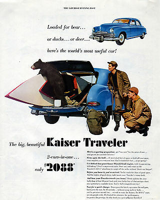 1949 Kaiser car ad --Kaiser Traveler  --2 Cars in One --=729