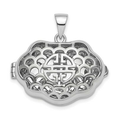 Sterling Silver Rhodium-plate Chinese Symbol For Wealth Locket Pendant