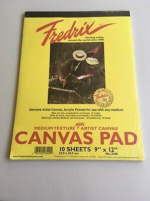 "Fredrix Artist Canvas Pad 10 Sheets 9"" X 12"" No. 3500 Brand New Sealed"