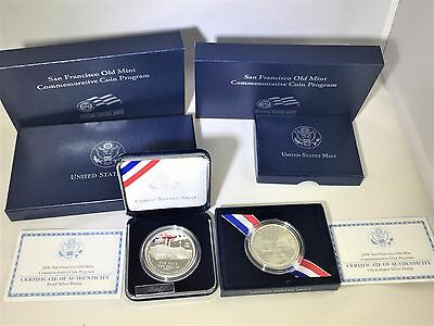 2006 San Francisco Old Mint Comm.Coin - 2 coins - Proof & Unc. Silver Dollar