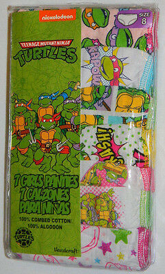 New Nickelodeon Teenage Mutant Ninja Turtles Girls Sz 8 Panties 7 Pk Underwear