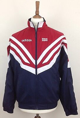 Vintage 80's Adidas Men's Red Blue White Striped Track Top Shell Small S Sports