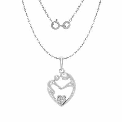 Round Natural Diamond Mom & Baby Heart Pendant 14k Gold Over 925 Sterling Silver