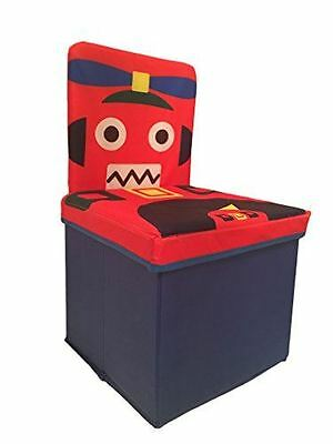 Kids Chair, Toys Storage Organizer Foldable Box With Lid, Stool, Robot Design