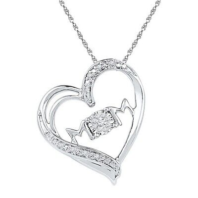 Round Natural Diamond Mom Heart Pendant 14k White Gold Over 925 Sterling Silver