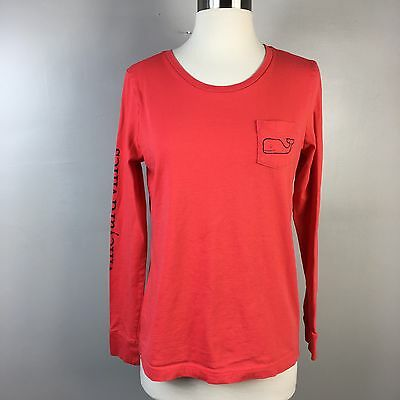 Vineyard Vines Long Sleeve Whale Red T Shirt Front Pocket Size S Unisex