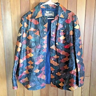VTG 70s The Tannery Leather Square Jacket Womens Boho Hippie Patchwork Mod L