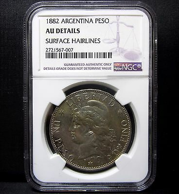 1882 Argentina Peso ✪ Ngc Au Details ✪ Republic Of L@@k Now 1 ◢Trusted◣