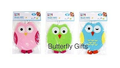 Baby Bath Wash Mitt Cute Owl Baby Bath Fun Time Green Pink & Blue Colours