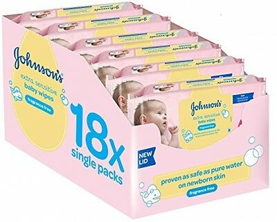 Johnson's Baby Extra Sensitive Fragrance Free Wipes - Pack Of 18 Total 1008