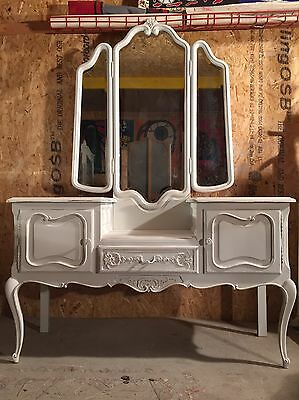 Vintage French Dressing Table With Mirror
