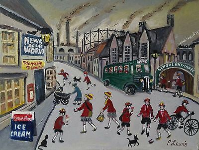 "School's Out Original Northern Art Oil Painting by Phil Lewis 16"" x 12"""