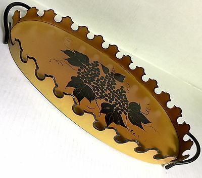 """Toleware Metal Tray Grapes Painted Gold Vtg Mid Century Tole 17.5"""" Grapevine"""