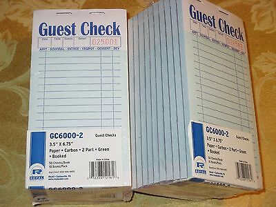1000 RESTAURANT GUEST CHECKS 2 Part Carbon Receipt ORDER PADS 20 Books Royal Two