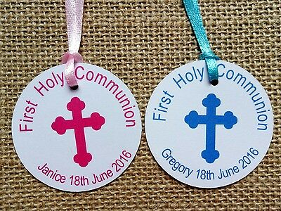 30x Personalised Christening Baptism Favour Gift Tags First Communion Thank You