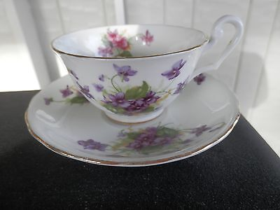 Clarence bone china violet tea cup and saucer with gold trim