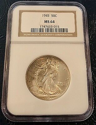 1945 Walking Liberty Half Dollar, NGC MS 64, U.S. Mint Philadelphia Silver Coin