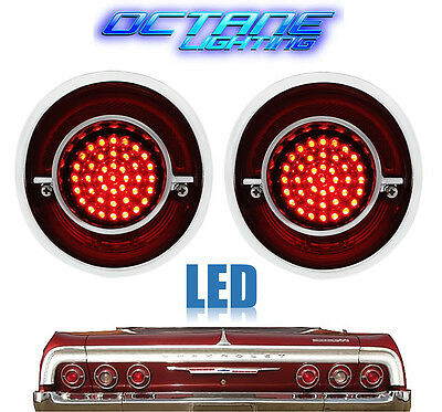 64 Chevy Impala Red LED Rear Tail Brake Turn Signal Light Lenses w/ Chrome Pair