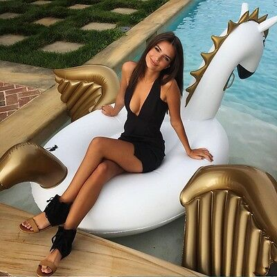 Inflatable Pool Float Toy Swimming Ring PVC Gold Unicorn Lake Swim Summer HOT