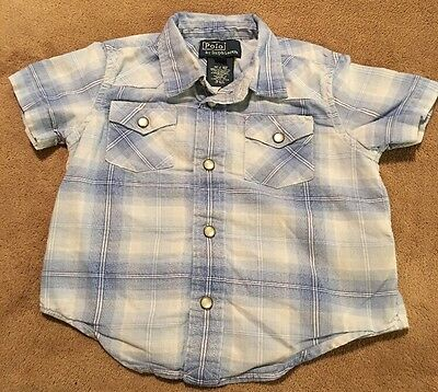 POLO By RALPH LAUREN- Toddler Boys Pearl Snap Short Sleeve Shirt, Size 12 Months