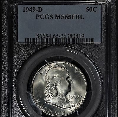 1949-D Franklin Half Dollar, PCGS MS65FBL,White