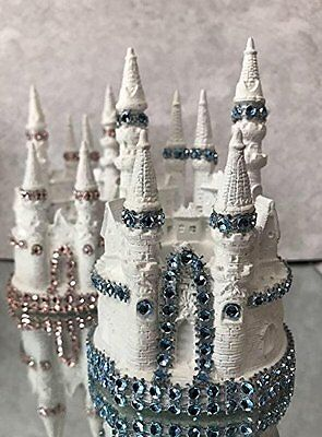 """4.5"""" White and Pink/Blue Fairy Tale Castle Cake Topper Centerpiece Birthday"""