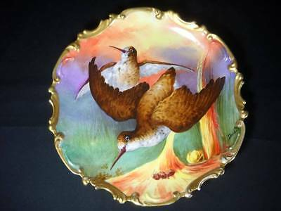 "Antique Limoges Coronet Game Bird 13"" Charger Plate Hand Painted Signed Duval"