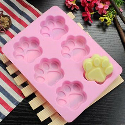 Cat Dog Paw Silicone Fondant Mold Cake Soap Cookie Chocolate Baking Ice Mould