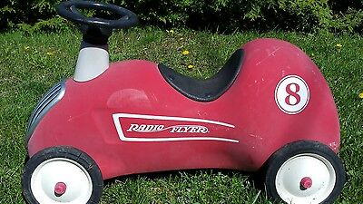 Radio Flyer Model #8 Metal Ride On Plush Race Car Red Roadster Vintage Style