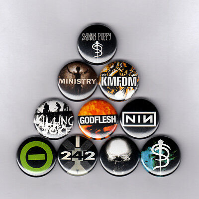 """INDUSTRIAL1"""" PINS / BUTTONS w/ SKINNY PUPPY KMFDM MINISTRY GODFLESH TYPE O patch"""