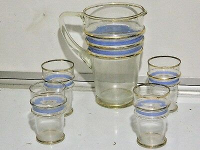 Vintage Mid 20's century 1950's 24 kt Gold PL Water Jug With 6 Matching Glasses