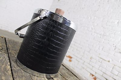 Black Faux Alligator or Crocodile Ice Bucket by Kromex Vintage Mid Century Moder