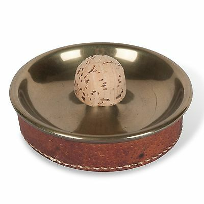 Hand-Stitched Leather and Brass Dish by Carl Auböck